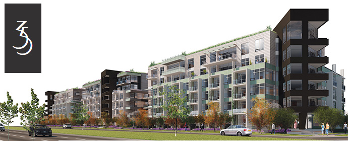 3 U shaped residential buildings make up the 35 Park West Vancouver Westside condo development.
