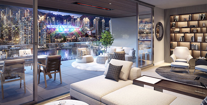 Expansive outdoor living spaces for the two bedroom units at Avenue One False Creek.