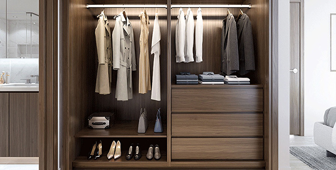 Luxury closet systems are standard at the Concord Avenue One Vancouver condos.