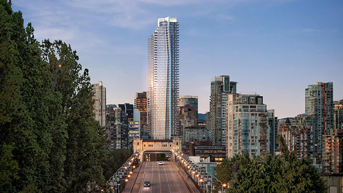 View of the downtown Vancouver Burrard Place condo high-rise from the Burrard Street Bridge looking north.