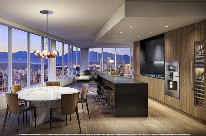 Beautiful kitchens with Gaggenau integrated appliances, quartz stone counters and custom built cabinetry.