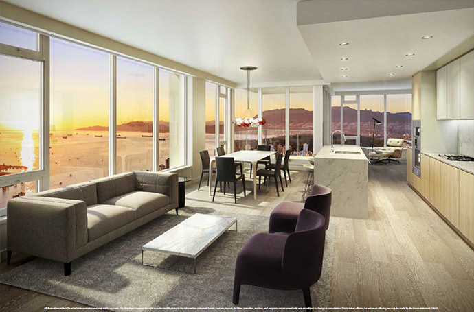 Floor to ceiling curtain window wall systems, hardwood floors and expansive views are signature features at the luxury Vancouver Burrard Place condo tower residences.