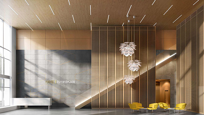 Welcoming entrance and porte cochere at the exclusive Vancouver downtown real estate development.