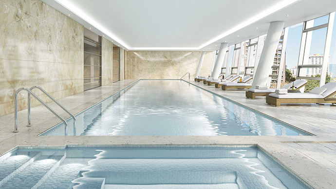 Beautiful full length lap pool at Burrard Place Club One amenity floor.