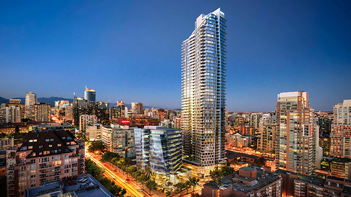 The iconic architecture of One Burrard Place Vancouver luxury condos is designed by world renowned firm IBI Group Architects.