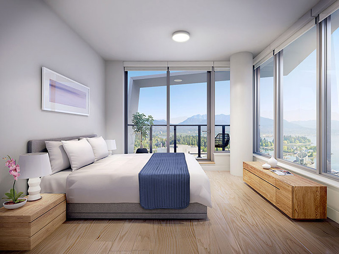 Views from your bedroom at The Cardero Vancouver high-rise.