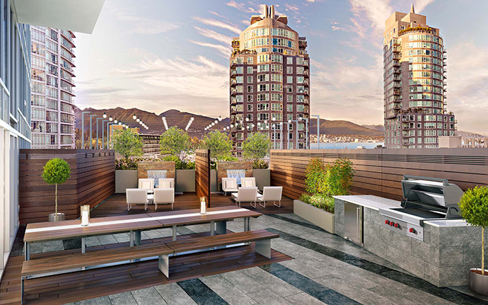 Common amenity spaces include a terrace deck.