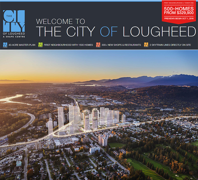 The City of Lougheed Coquitlam real estate development.