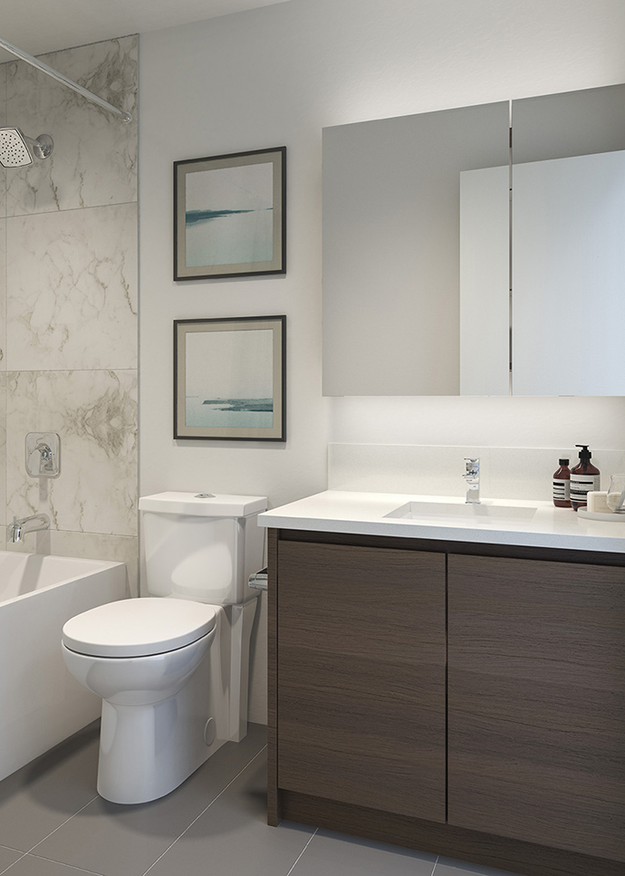 Ensuite bathroom with luxurious finishes at the Brentwood Dawson Burnaby condos.