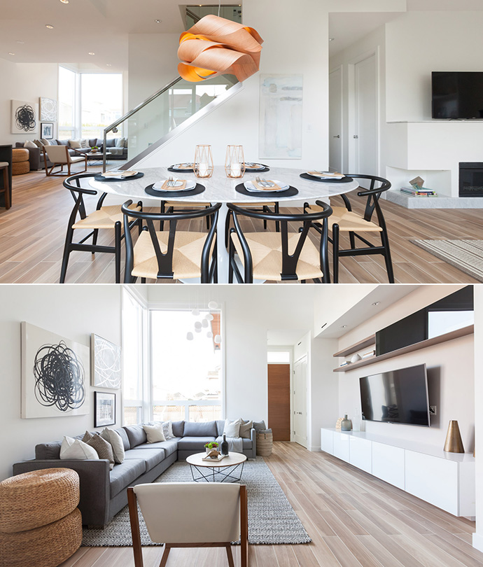 Beautiful living spaces with 2 colour palettes at the Jacken Homes Dayton Avenue Richmond Broadmoor homes development.