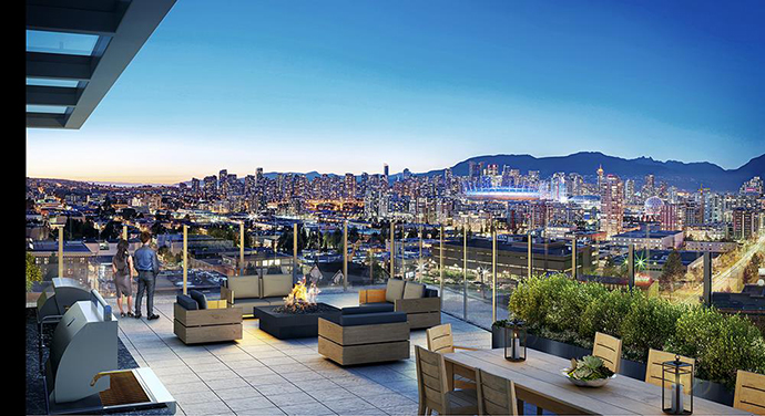 Rooftop terrace at the Mt Pleasant Vancouver Ellsworth Condos.