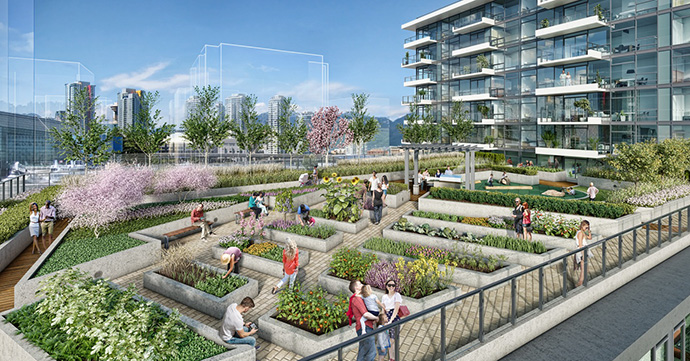 Beautiful gardens and terraces at the EPIC at WEST at the Residences at West Vancouver False Creek condos.