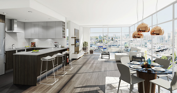 Atmosphere Interiors at EPIC at WEST condos in Vancouver.