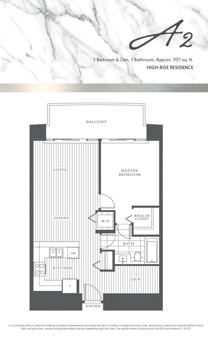 1 bedroom Escala floor plan.