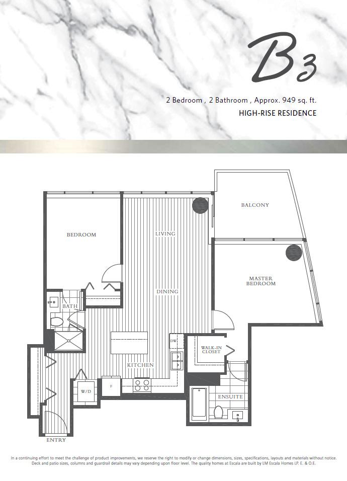 2 Bedroom plus den floorplan at Escala Burnaby condos.