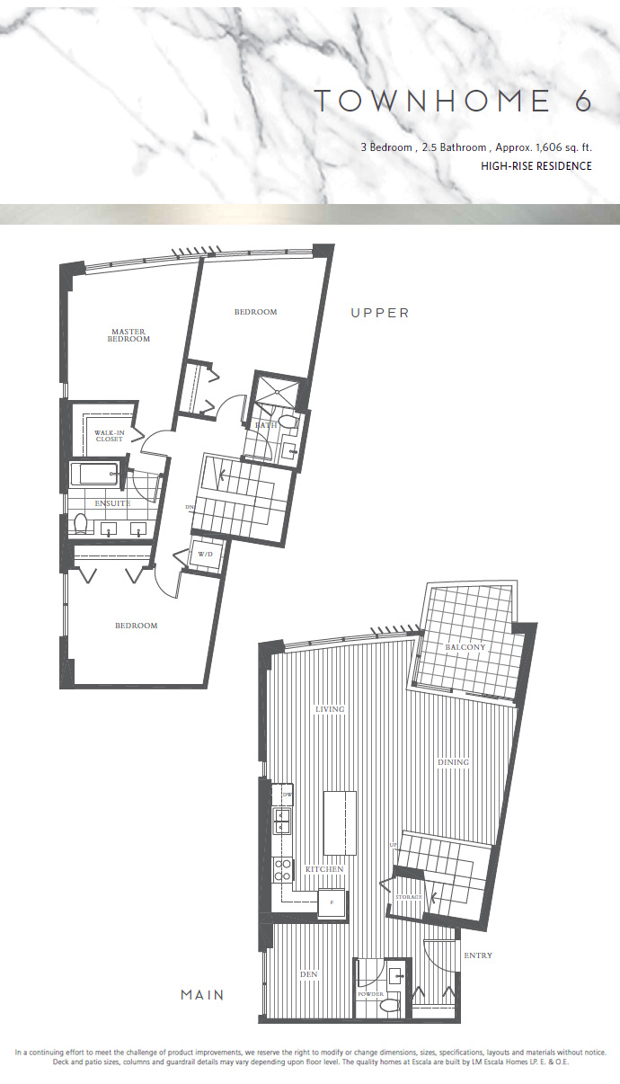 Brentwood Escala townhouse floor plan.