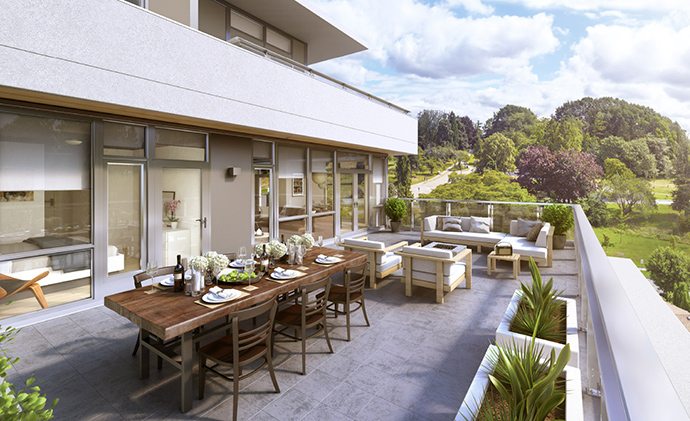 Spacious outdoor living at the Hawthorne Cambie Collection by Pennyfarthing.