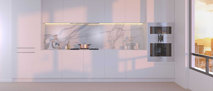 Linear kitchens designed by Trepp Design for The Jervis apartments in downtown Vancouver.