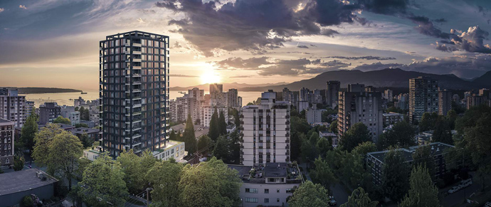 Rendering of the presale Vancouver Jervis condos in the West End neighbourhood.