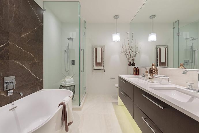Sumptuous spa-inspired bathroom ensuites at the Kerrisdale Kirkland luxury homes.