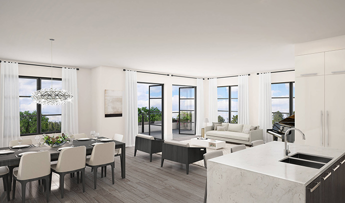 Open layouts and beautifully finished interiors by Area 3 Design Group at The Kirkland condos.