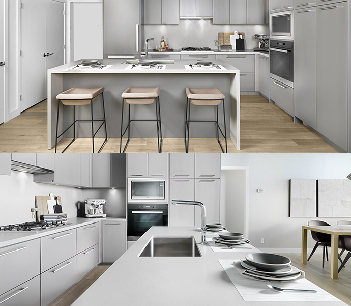 Clean, minimalist yet stylish gourmet kitchens at the Langara West Vancouver homes.