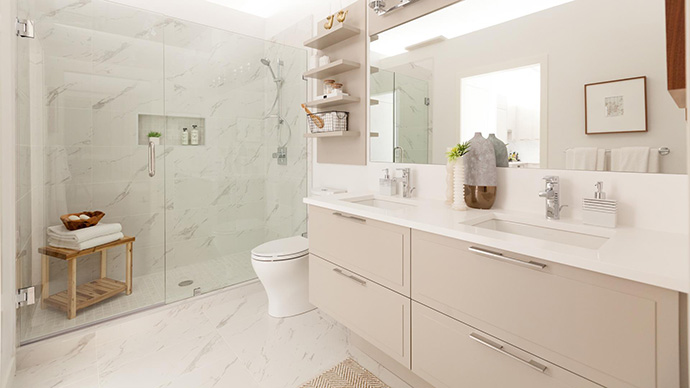 Elegant and stylish bathrooms at the Vancouver Leveson project.