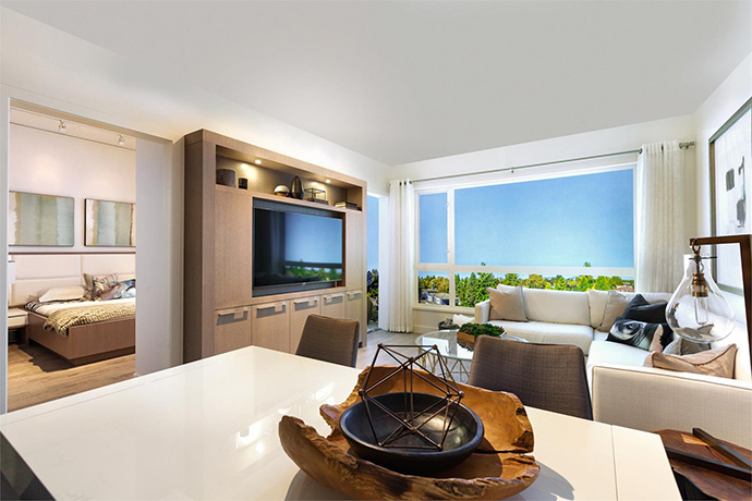 Beautiful living space at The Leveson Vancouver south apartments.
