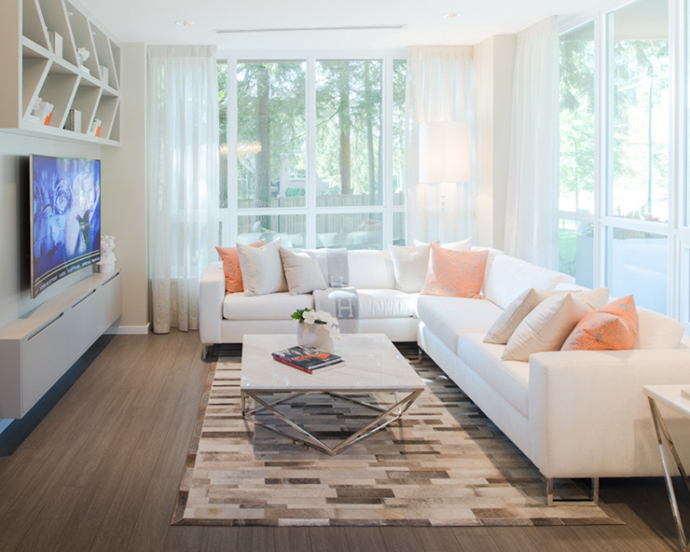 Beautiful, open and bright living spaces at the Windsor Gate Lloyd Condos in Coquitlam real estate market.