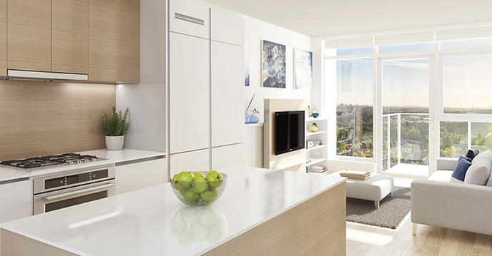 Upscale kitchens with the latest finishes are presented at the West Coquitlam Lougheed condo development.