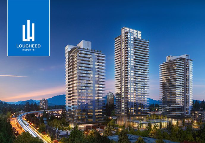 BlueSky LOUGHEED HEIGHTS Coquitlam condo master plan includes 3 towers, Club BlueSky and a central transit-oriented residential community.