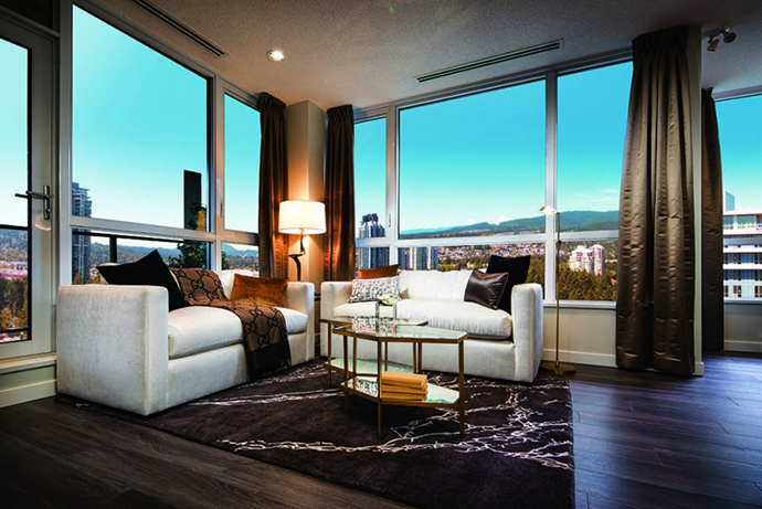Living rooms at Mantyla Coquitlam condos.