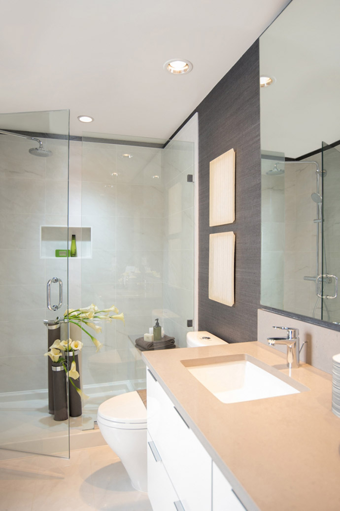 Master ensuite rendering at Midori condominiums.