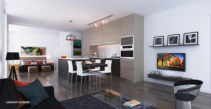 London design palette at the new Milano Brentwood condo tower.