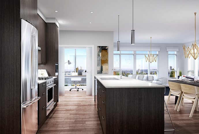 Different Design for the kitchens at Modena condos in Burnaby Heights real estate district.