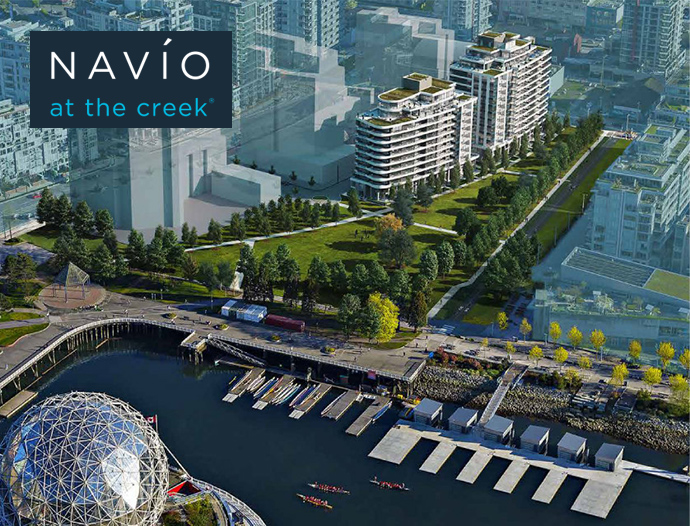 Southeast False Creek Vancouver NAVIO condos and townhomes at The Creek by Concert Properties.