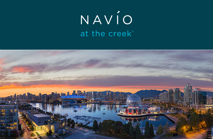 Beautiful setting at the new False Creek NAVIO Vancouver condos and townhouses for sale.