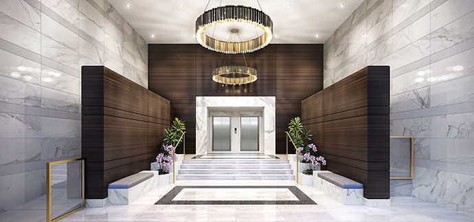 Overheight lobby entrance at the Orchid Richmond condo tower.