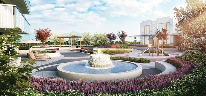 Expansive outdoor amenity spaces including a terrace garden at the Beedie Orchid Richmond condos for sale.