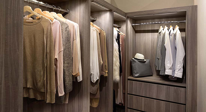 Custom closet cabinets are standard features at Park Boulevard Surrey preconstruction condos.