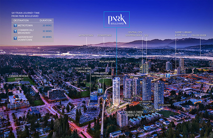 Centrally located Park Boulevard Surrey City Centre condos are close to the King George SkyTrain Station and the proposed Surrey Light Rail Transit System.
