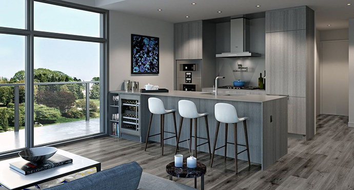 Kitchens at Primrose condominiums.