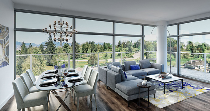 BYU Design interiors at the new Primrose Vancouver condos.