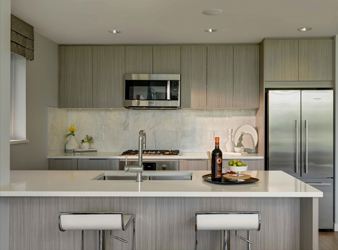 Spectacular kitchen design at the R and R Condos by Polyhomes.