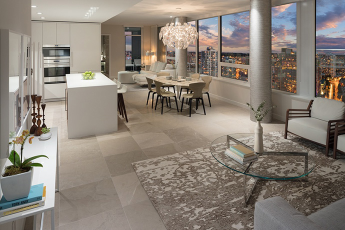 Exceptionally large 2 and 3 bedroom floor plans at The Smithe Vancouver condos.