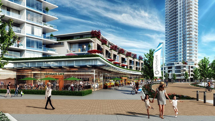 Streetscape rendering at Southgate City Burnaby development.
