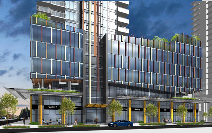 Rendering of the Burnaby Sun Towers Metrotown pre-construction condos.