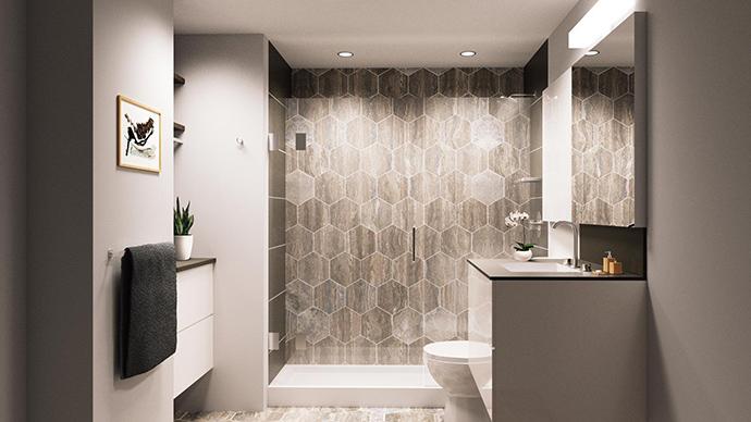 Modern bathrooms at Synchro Mount Pleasant presales condos.