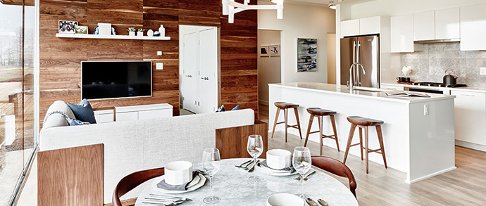 Kitchen rendering at The Columbia Brewery District Condos.