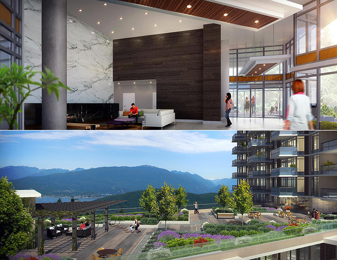 Double story grand entrance lobby and beautiful panoramic terrace are just two of many luxury resort style amenities high atop Burnaby Mountain.